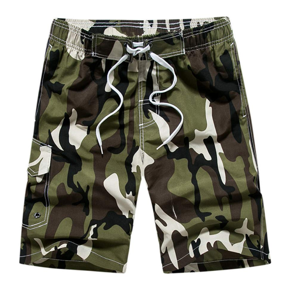 Vickyleb Mens Short Swim Trunks Boys Quick Dry Beach Broad Shorts Swim Suit with Mesh Lining Army Green