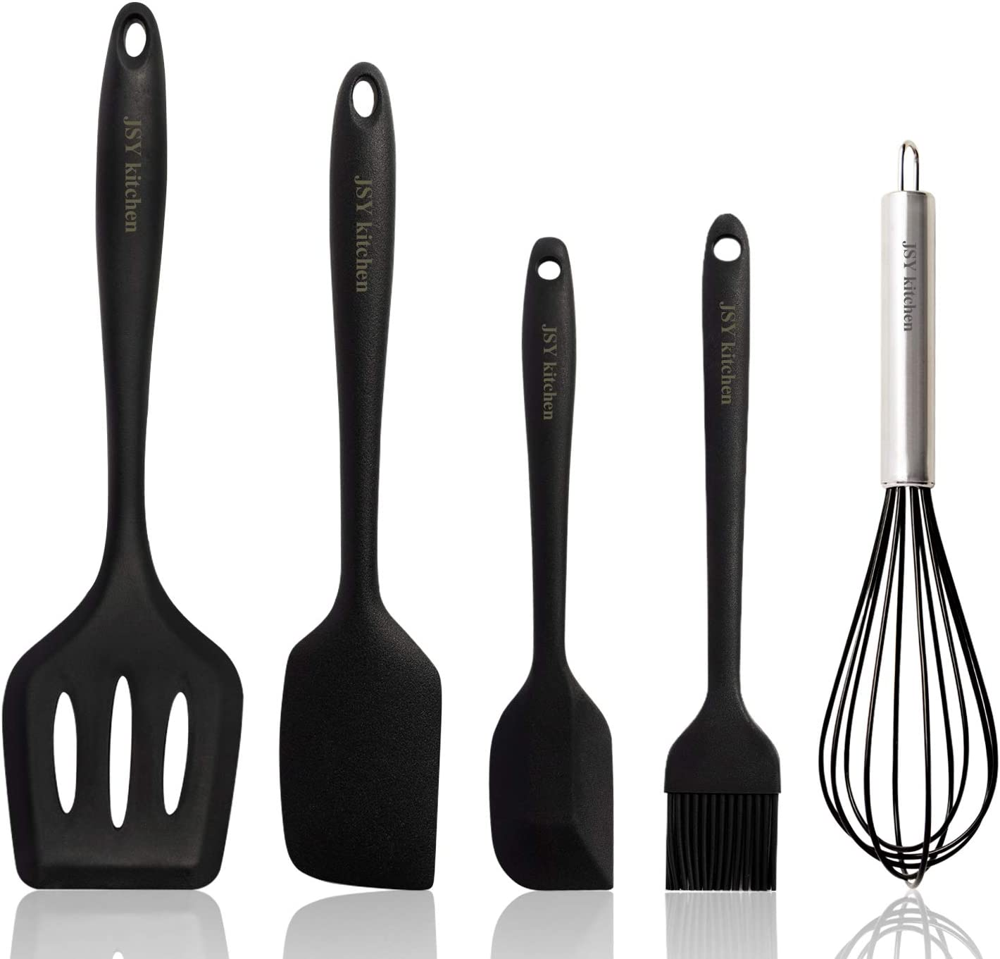 JSY Heat Resistant Silicone Spatula Set of 5,Food Grade Silicone Spatulas Set Rubber kitchenware set for Non-Stick Rubber Spatula Kitchen Utensils for Cooking, Baking, and Mixing