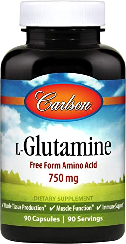 Carlson – L-Glutamine, Free-Form Amino Acid, 750 mg, Muscle Tissue Production, 90 Capsules