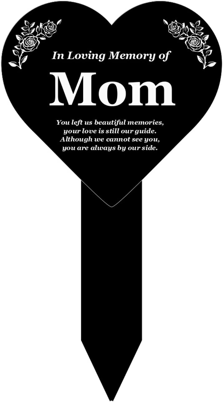 OriginDesigned MOM Heart Memorial Remembrance Plaque Stake - Black and White Acrylic, Waterproof, Outdoor, Grave Marker, Tribute, Plant Marker