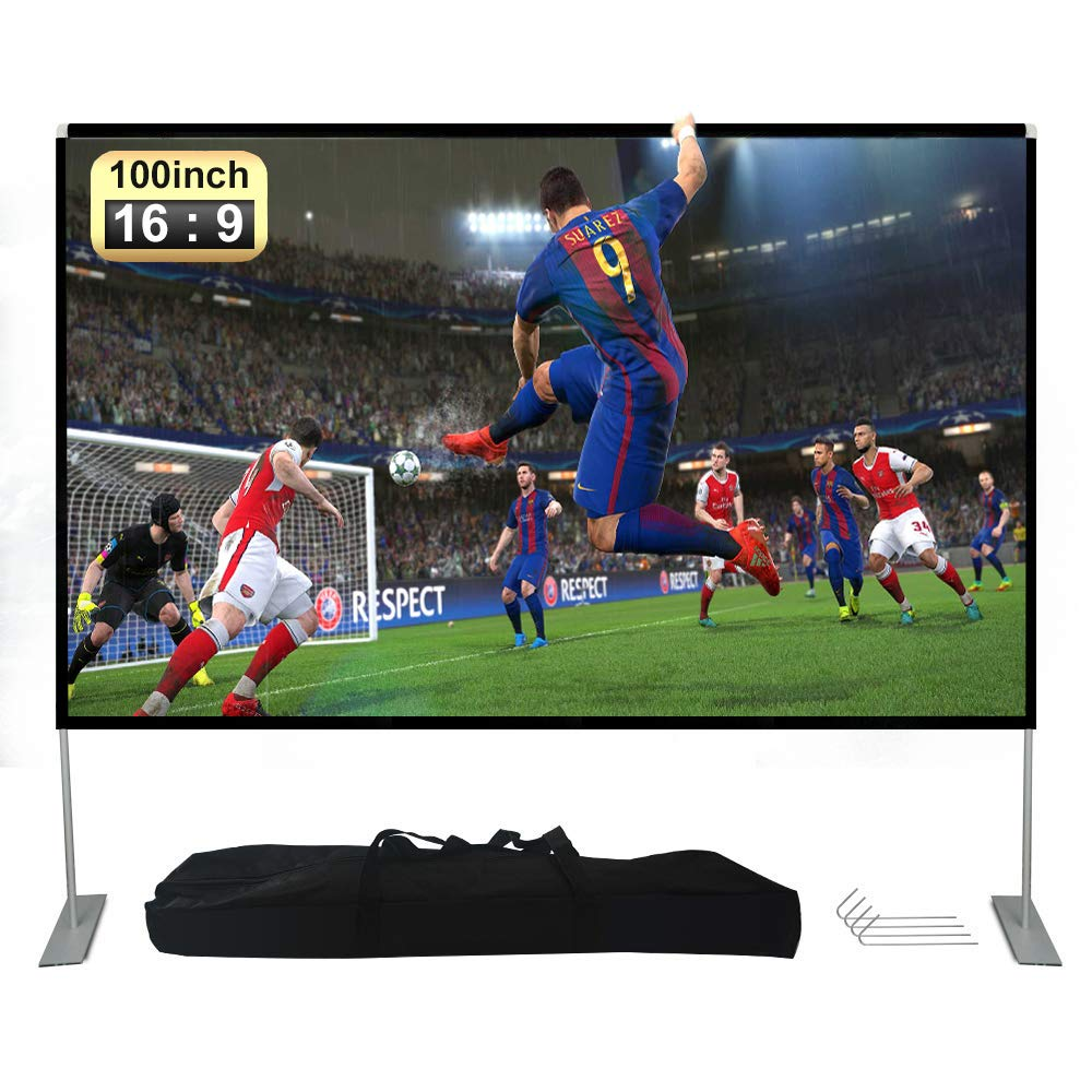 Deeteck 100 inch HD Portable Projector Screen with Stand & Carry Bag,16:9 Foldable Screens Anti-Crease Indoor Movie Projection Screen for Home Theater,Party,Office,Games,Outdoor,Support Double Sided