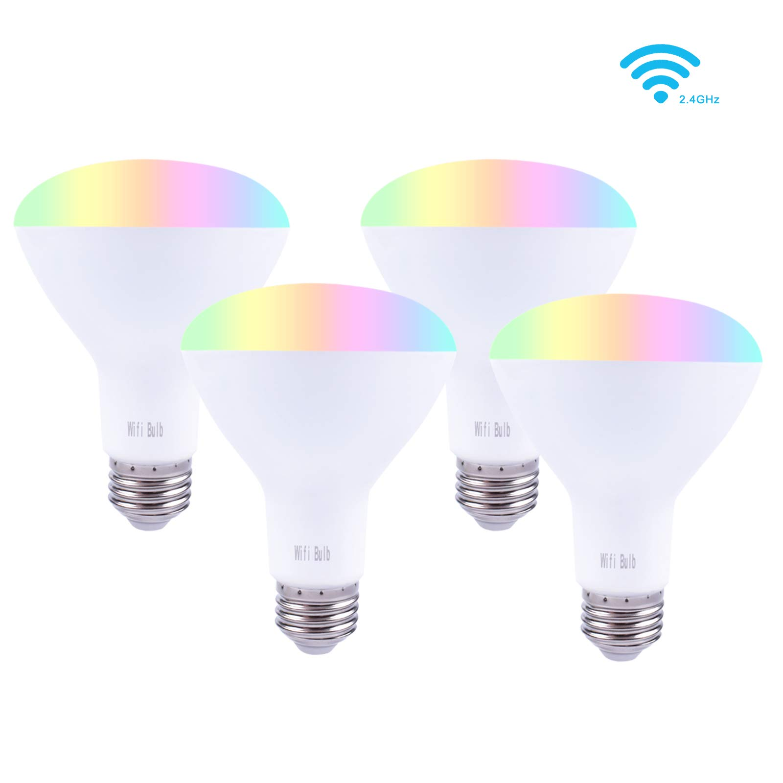 Smalux Br30 Dimmable Smart Bulb Color RGB/Warm White LED Bulb, Voice and Remote APP Control Bulb,Timer Switch Smart Home Lighting Bulb Work with Alexa/Google Home/IFTTT,E26 7W 4 Pack