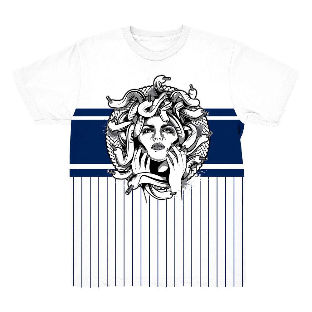 Blue Snakeskin 11 Medusa Pinstripe Shirt to Match Jordan 11 Blue Snakeskin Sneakers
