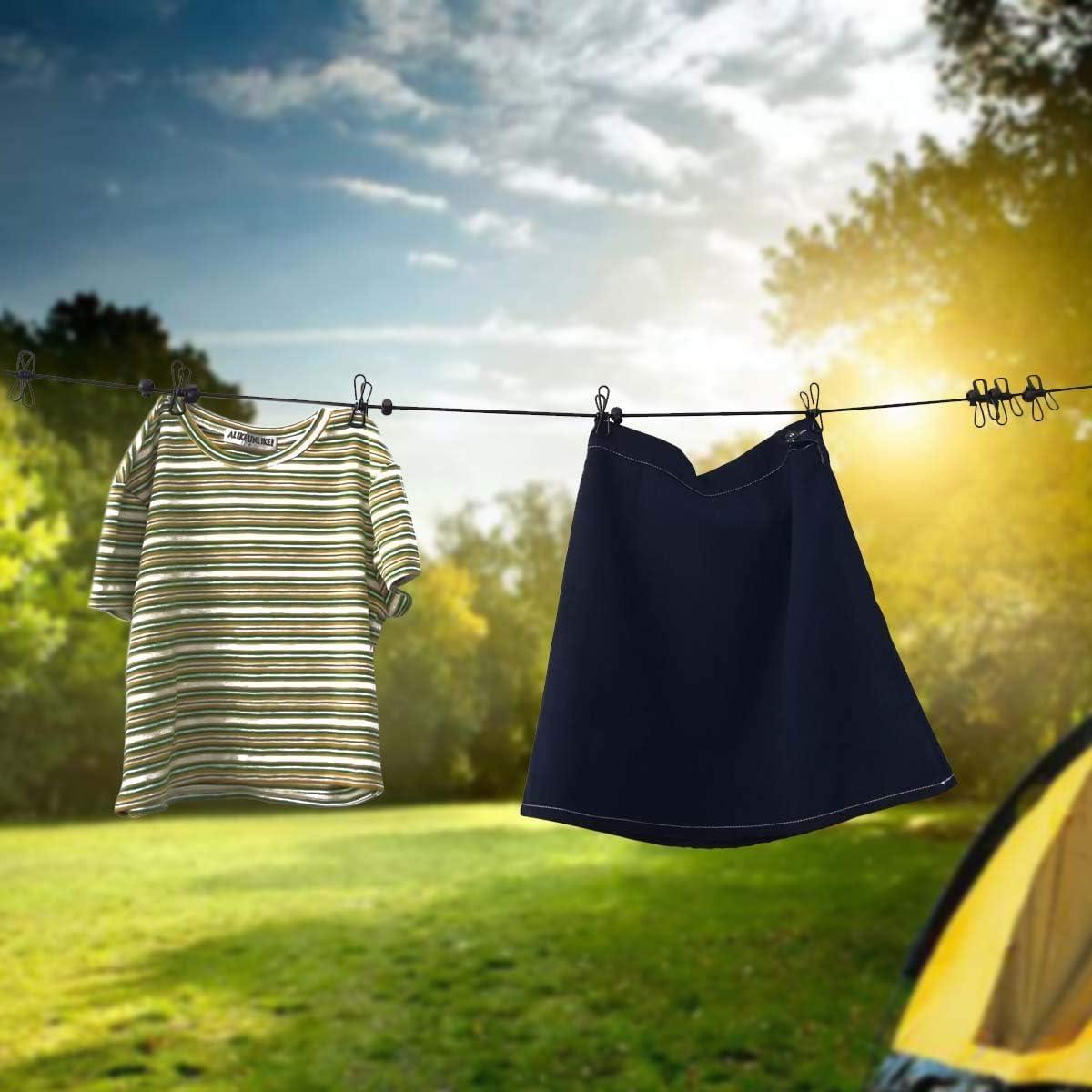 elastisch einziehbar verstellbar mit 12 Clips f/ür den Au/ßen- und Innenbereich blau Esme Tragbare Reise-Kleiderleine f/ür Reisen und Camping