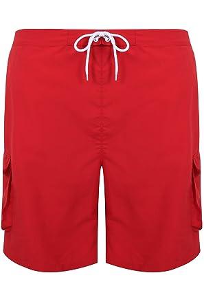 b56de58933 BadRhino Men's Big And Tall Red Cargo Swim Shorts: Amazon.co.uk ...