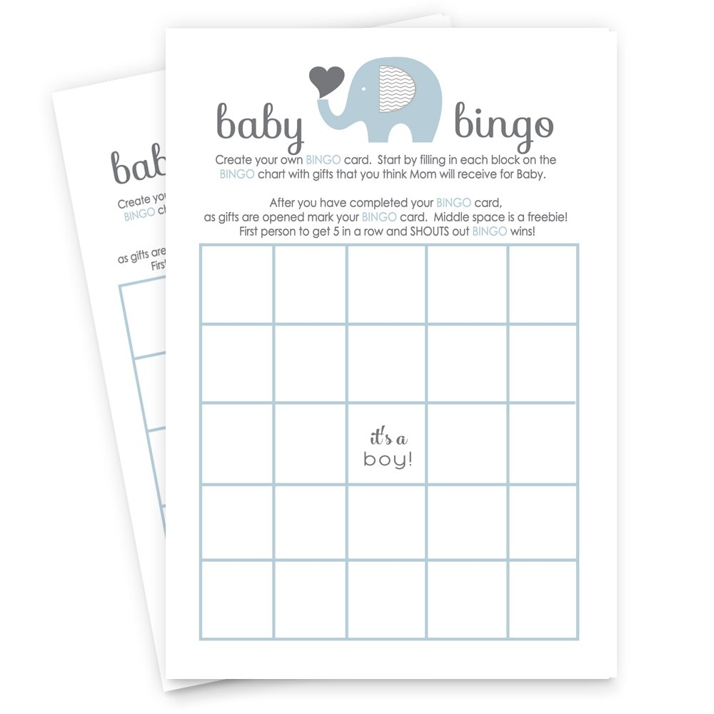 Blue Elephant Baby Shower Bingo Game Set of 25 Cards by Paper Clever Party