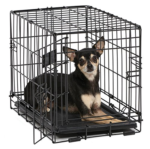 Dog Crate | MidWest iCrate XXS Folding Metal Dog Crate w/ Divider Panel, Floor Protecting Feet & Leak-Proof Dog Tray | 18L x 12W x 14H Inches, Toy Dog Breed, Black ()