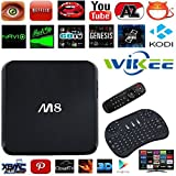 [FREE Air Mouse] WIIKEE M8 4K KODI Internet Android TV Box Quad Core Full Loaded Cloud TV HDMI 1080P Blu-Ray 3D Streaming Media Player 2G/8G