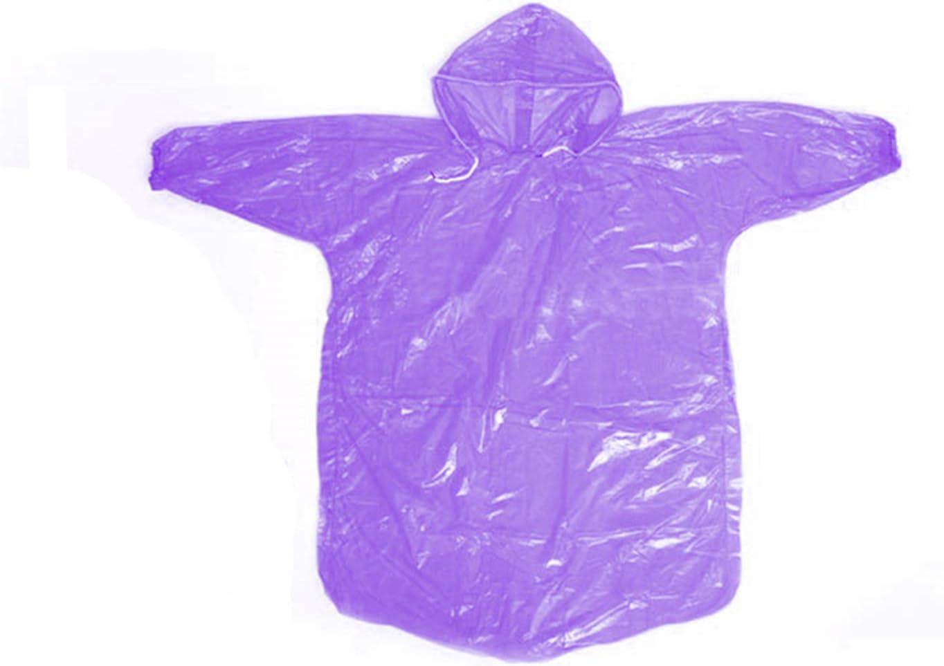 Disposable Rain Ponchos 5 Pack Kids Children Purple Rain Coat with Drawstring Hood & Sleeve