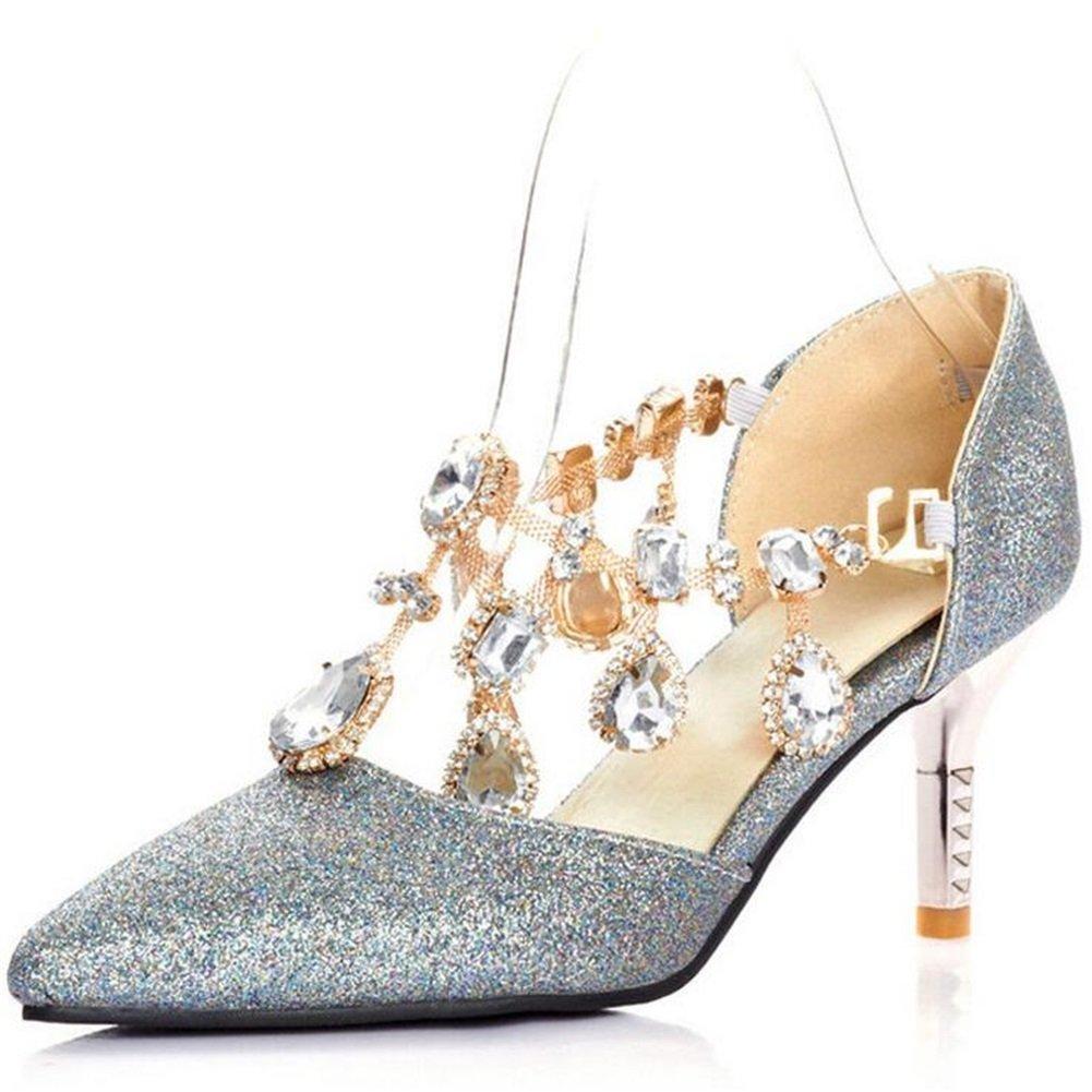 Diamantes Tacones De Lentejuelas Verano Nuevos Caída Imitación Acentuados Zapatos Del Pu Exing Fiesta La Para Boda Mujer w7a5F