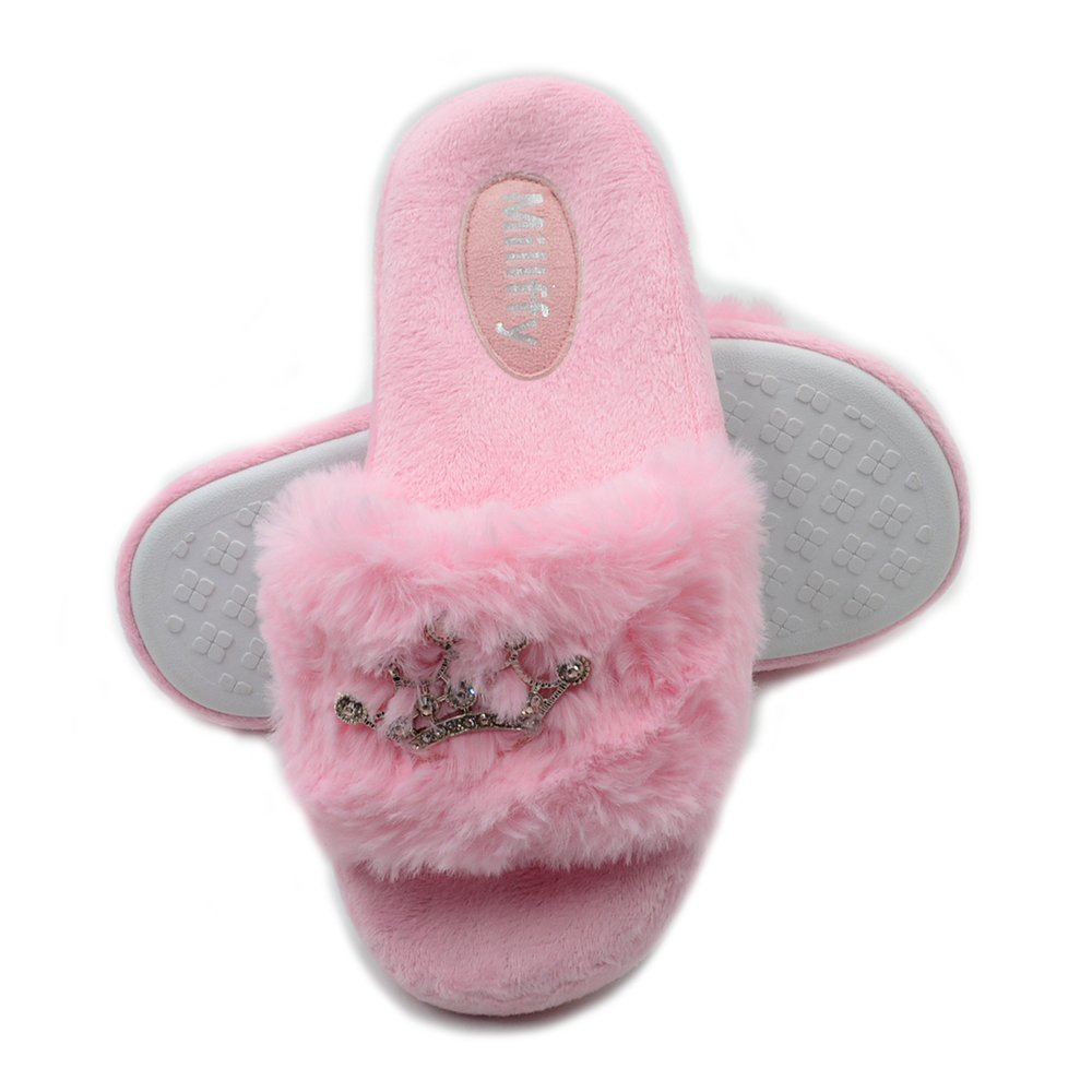 Millffy Sweet pv Plush Slippers Princess Crown Bring Bring Diamond Ladies Shoes Pink Girl Home Slippers