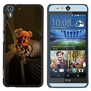Stuss Case / Funda Carcasa protectora - Cráneo del oro muerte roja abstracta del vórtice - HTC Desire Eye M910x