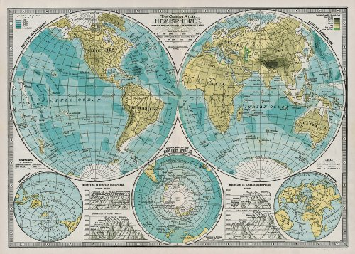 Cavallini Decorative Paper - Hemispheres Vintage Map 20