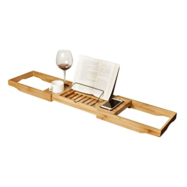 WELLAND Bathtub Caddy Bamboo Bath Tray with Adjustable Extending Sides, Bath and Bed Tray, Cellphone Tray, Book Reading Rack, Cup, Wine Glass Holder and Tablet Holder (Natural Bamboo Color)