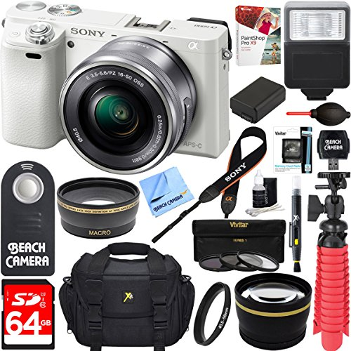 Sony Alpha a6000 24.3MP Wi-Fi Mirrorless Digital Camera + 16-50mm Lens Kit (White) + 64GB Accessory Bundle + Photo Bag + Extra Battery+Wide Angle Lens+2x Telephoto Lens+Flash+Remote+Tripod