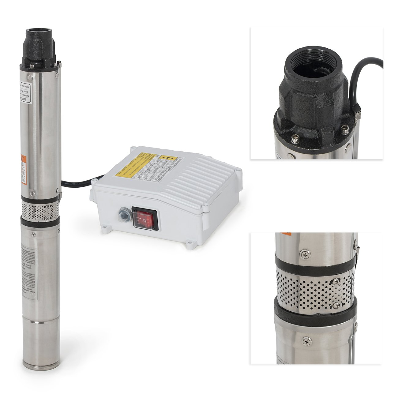 ARKSEN Deep Well Submersible Pump + Control Box, 1 HP, 110v, 60hz, 33GPM, 200FT Head, Stainless Steel, 4''