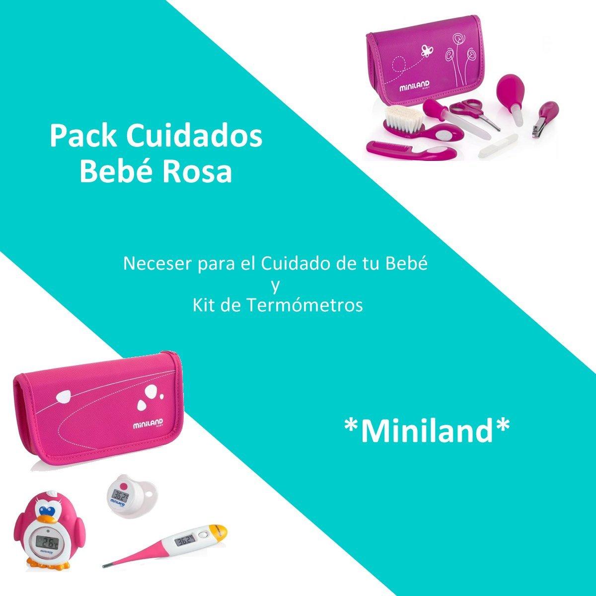 Pack Cuidados Bebé Color Rosa: Neceser para el Cuidado de tu Bebé y Kit de Termómetros Miniland