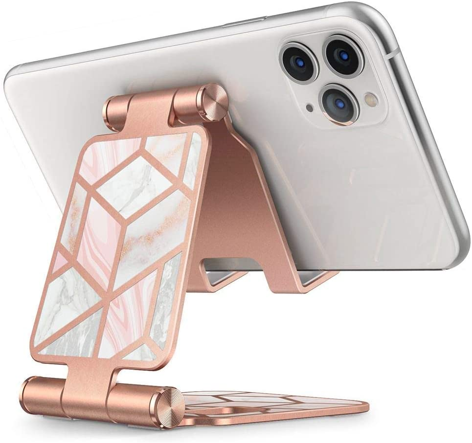 i-Blason Cell Phone Stand, Foldable Adjustable Phone Mount Holder Dock Aluminum Desk Cradle, Compatible with iPhone 11 Pro Xs Xs Max X Xr 8 7 6s Plus, Android Smartphones, All Smart Phone (Marble)