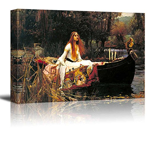 Famous Art Reproductions - Wall26 The Lady of Shalott by John William Waterhouse - Canvas Wall Art Famous Fine Art Reproduction| World Famous Painting Replica on Wrapped Canvas Print Modern Home Decor Wood Framed & Ready to Hang - 24