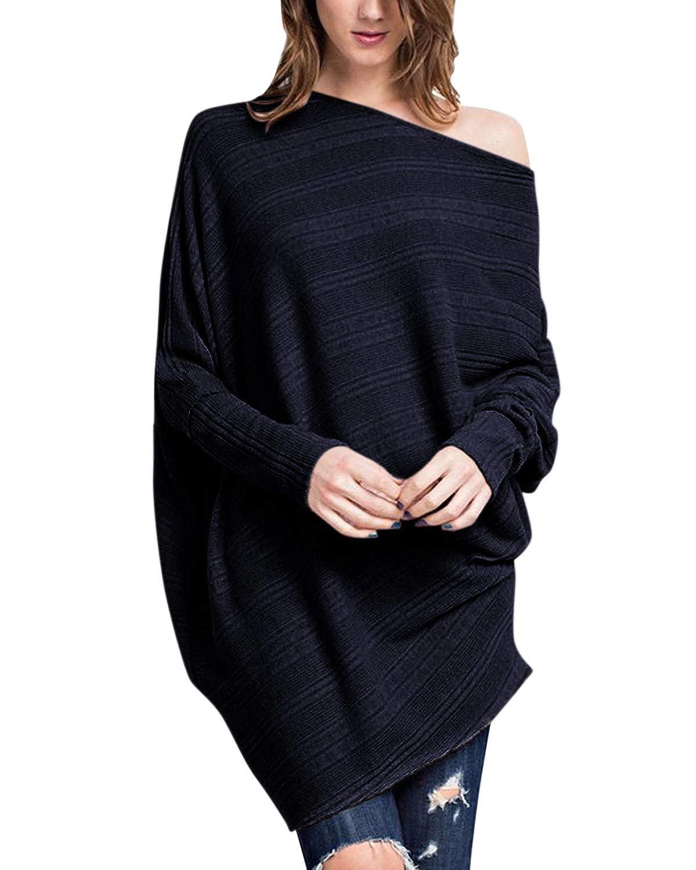 Odosalii cuello en V sin hombros jersey de punto grande Jersey de punto para mujer manga larga