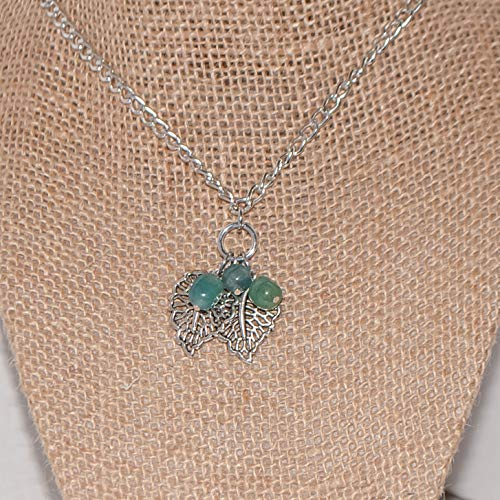 Fall Necklace Blue Green Quartz Beads and Silvertone Leaves Pendant Gift for Woman 24 inches