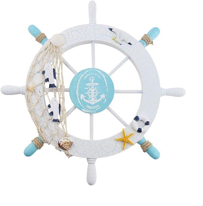Finico Nautical Wooden Wheel Decor Beach Boat Ship Steering Wheel Wall Decor Fishing Net Shell Home Wall Decor Home Kitchen Amazon Com