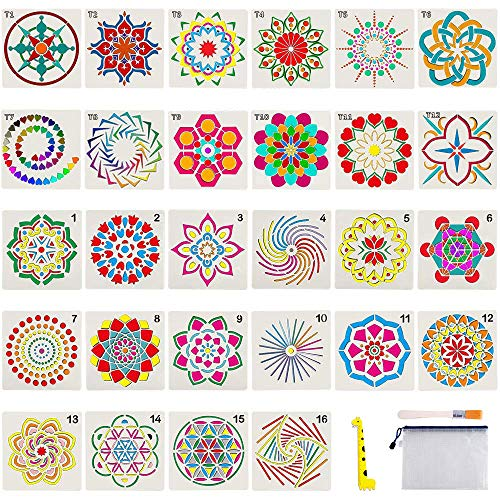 Stencil Flower (28 Pack Mandala Stencils - Mandala Template for Painting, Reusable Stencils Art for Painting Mandala Flower on Wood, Airbrush and Walls + Storage Bag/Art Brush/Ruler)