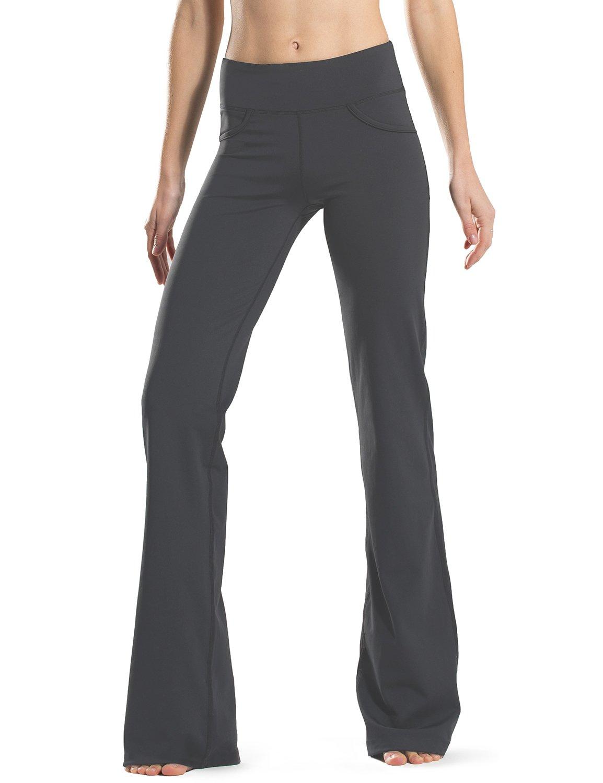 "Safort 28"" 30"" 32"" 34"" Inseam Regular Tall Bootcut Yoga Pants, 4 Pockets, UPF50+, Grey, L"