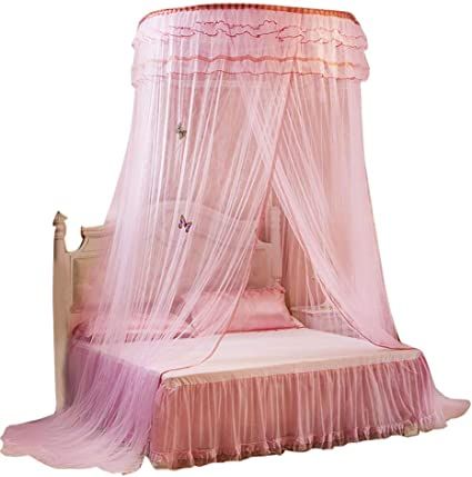 dosel redondo transpirable Cortina de cama Encaje Princesa Estilo Mosquitera Cortina de cama Malla de cama transpirable Mosquitera Mosquitera de cama Blanco