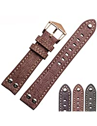 Memery Space Canvas Surface Genuine Leather Lining Strap 18/20/22mm (18MM, Pink-rose golden clasp)