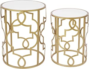 Round Small Nesting End Side Coffee Tables for Living Room Set of 2 (Wooden Top)