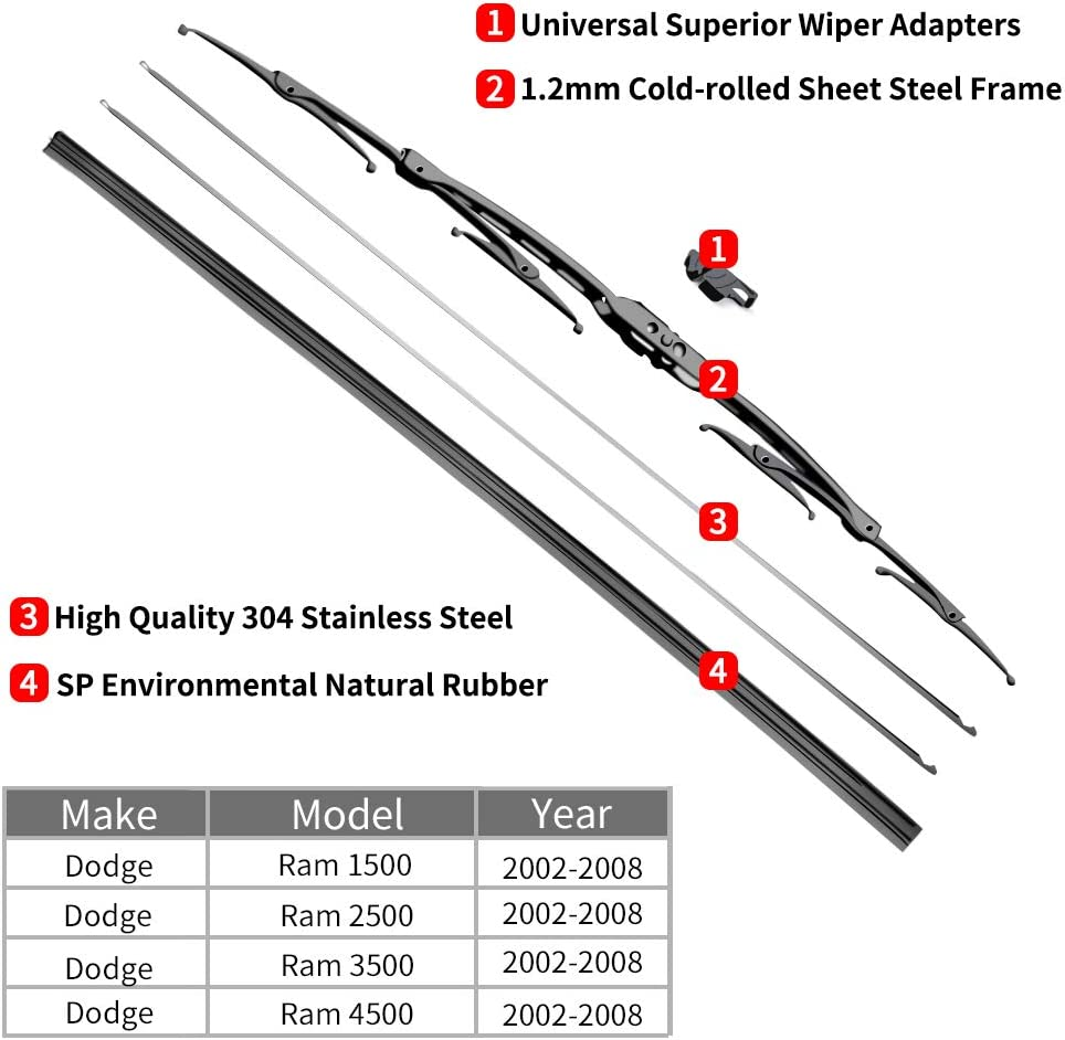 24+24 Front Window Wiper fit 2002-2008 Vehicles OTUAYAUTO Factory Aftermarket For Dodge Ram Windshield Wiper Blades