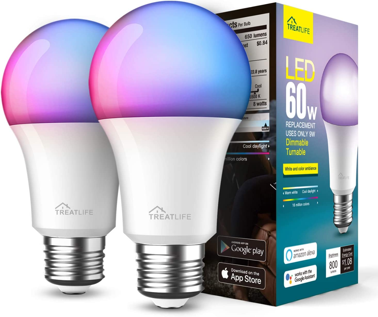 Smart Light Bulbs 2 Pack, Treatlife Music Sync Color Changing Light Bulbs, Works with Alexa, Google Assistant, A19 E26 9W 800 Lumen LED Dimmable Smart Bulb, for Party Decoration, Smart Home Lighting