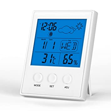 Termómetro Higrometro Digital, Waitiee Temperatura Termometro Digital Estacion Meteorologica con LCD Grande Muestra Temperatura,