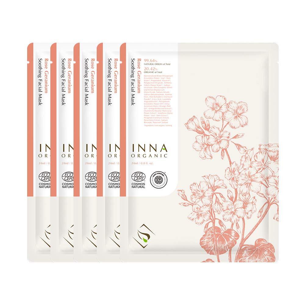 Inna Organic ROSE GERANIUM SOOTHING SKIN SHEET MASK, Skin Calming, After-sun care, Sensitive Skin, Luxury Clean Beauty, Home SPA, Certified Natural, 0.8 fl. oz, Pack of 5