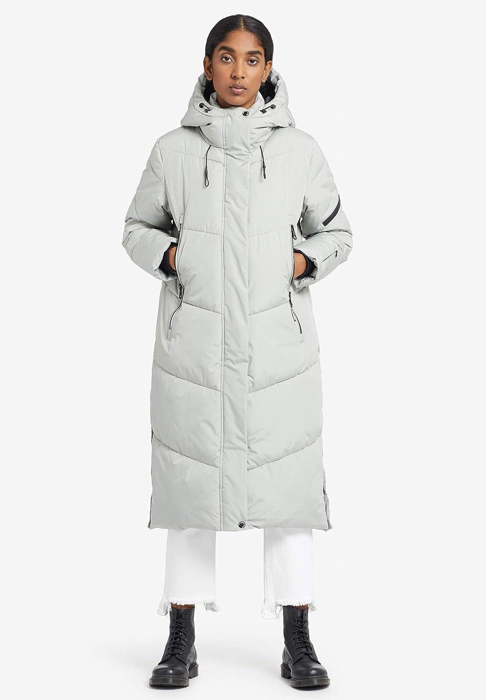 khujo Damen Mantel SONJE knielanger Steppmantel Wintermantel mit Kapuze und Rei/ßverschluss