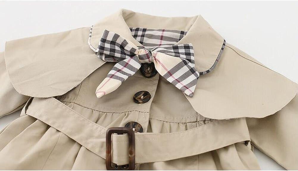Odziezet Baby Girl Trench Coat Bowknot Princess Autumn Jacket Windbreaker with Belt Outerwear