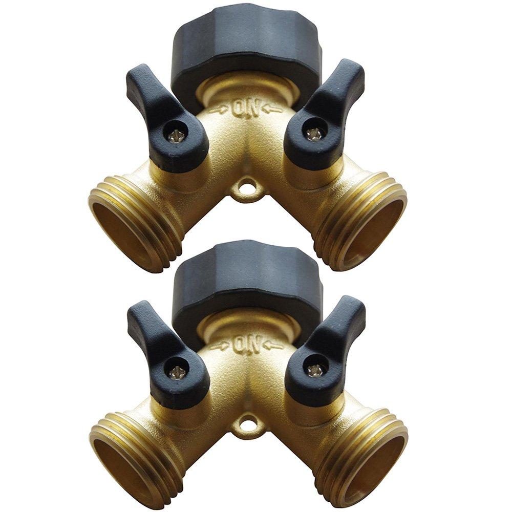 AuKvi 2-Way Brass Water Splitter/Shut Off Valve (2 Pack)