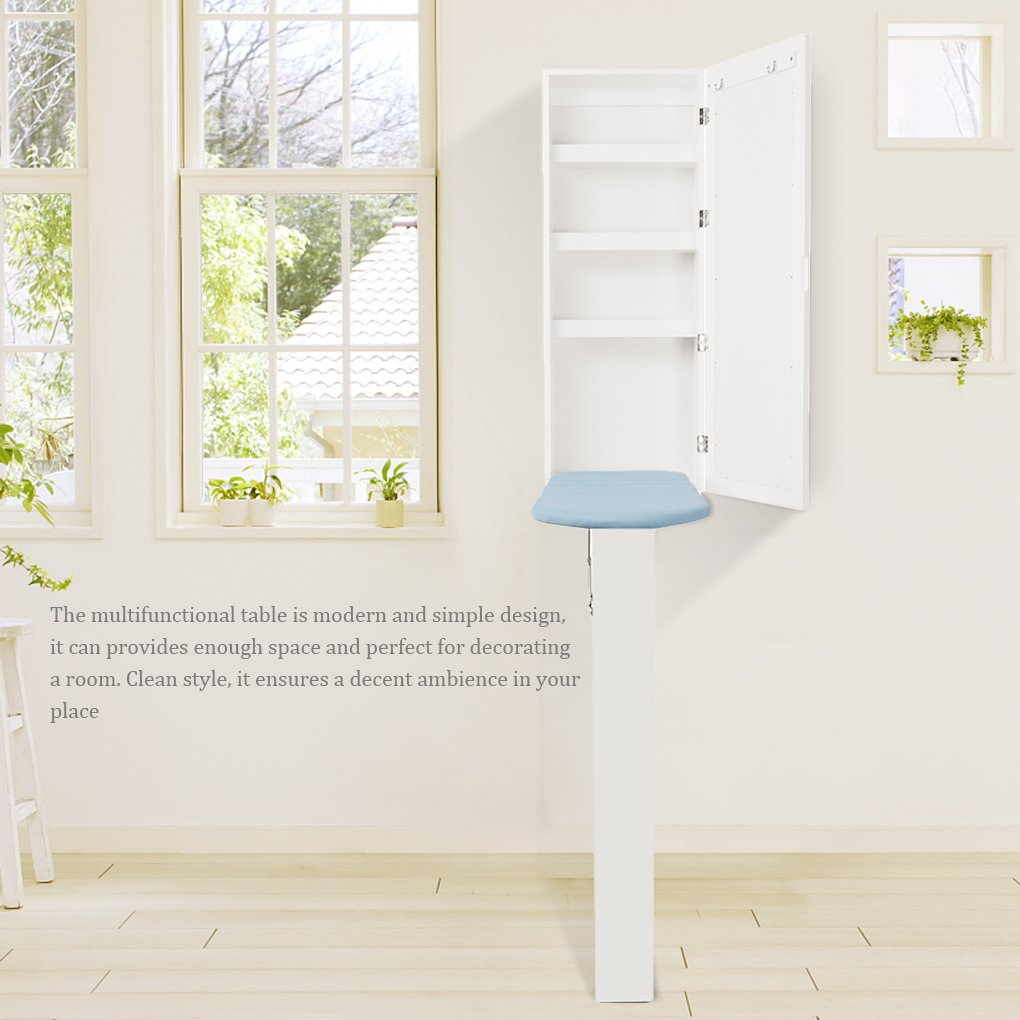 Topfire in Wall Ironing Board Cabinet Storage Shelves to Iron Accessories Dressing Mirror Storage Cabinet Hotel/Home/Office use