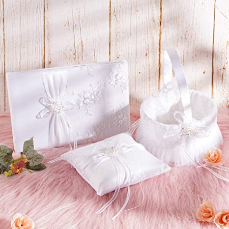 Cojín de anillos para cesta de boda, libro de invitados ...