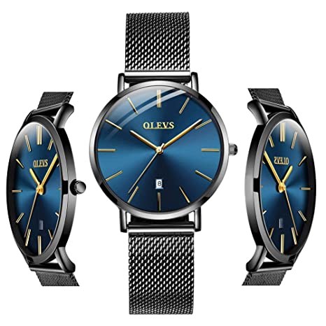 Blue Inexpensive Watches for Women Waterproof - OLEVS Thin Couples Minimalist Watches with Stainless Steel Date Women Analog Quartz Gift Watch for Birthday Party Business