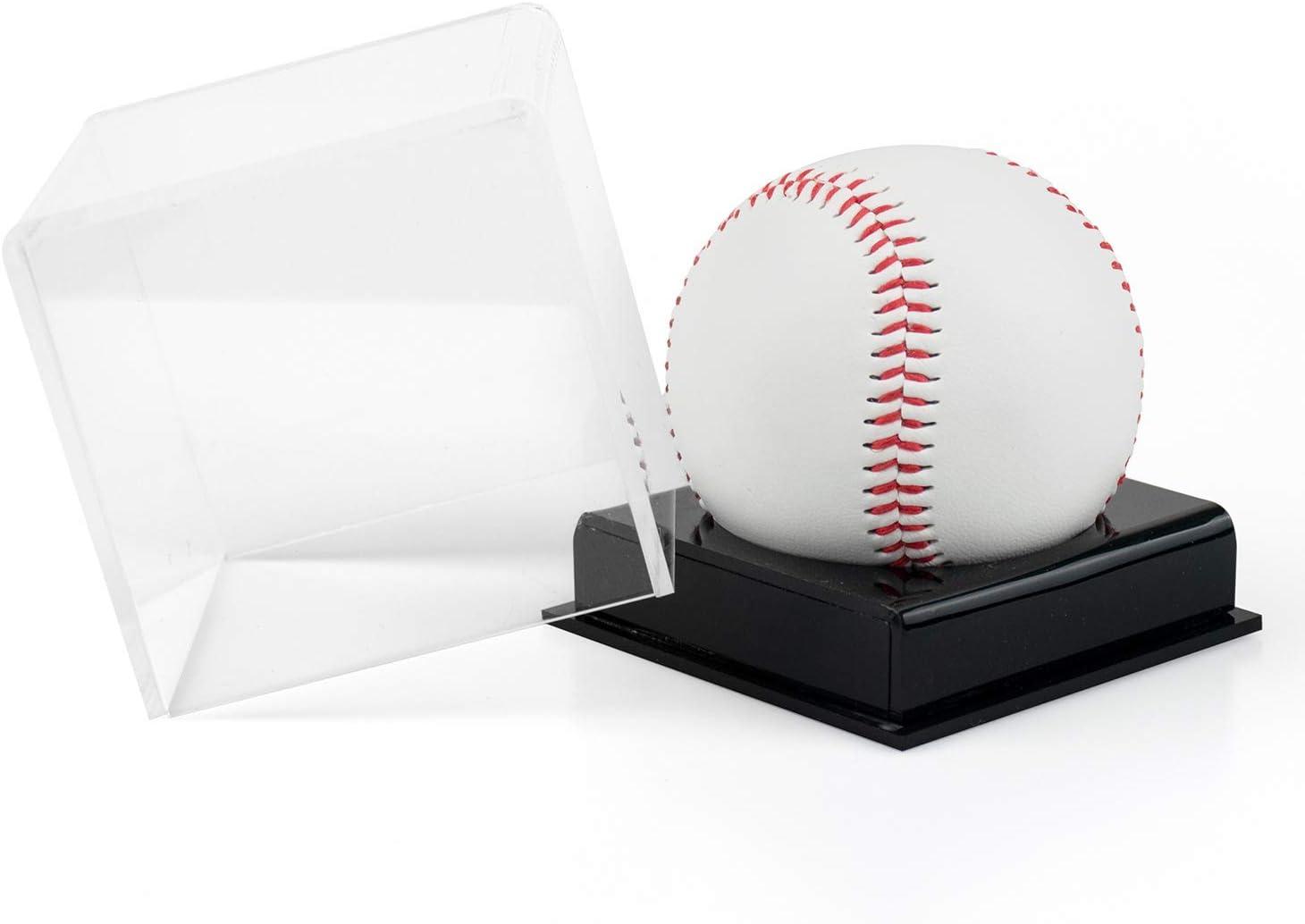 Tebery 4 Pack Acrylic Baseball Display Case Square Clear Baseball Display Box Cube Baseball Holder