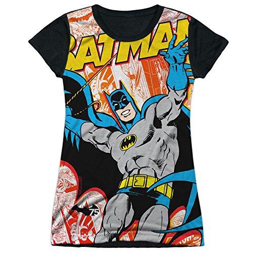Price comparison product image Batman TV Series Retro 75th Anniversary Cover Juniors Black Back T-Shirt Tee