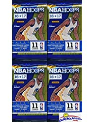 2016/2017 Panini Hoops NBA Basketball Lot of FOUR(4) Factory Sealed Packs with 44 Cards! Loaded with ROOKIES & Inserts! Look for Rookies & Autographs of Brandon Ingram, Ben Simmons, Kris Dunn & More!