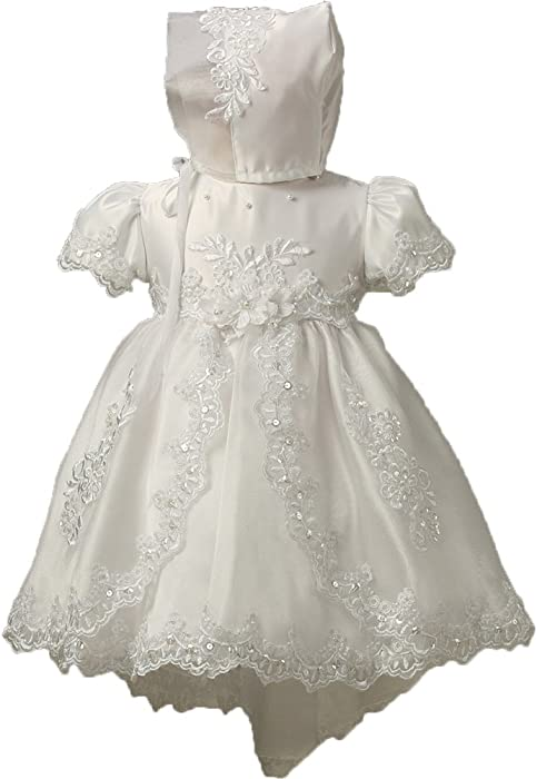 d31e73d23 ShineGown Baby Girls Ivory Long Flower Lace Princess Christening ...