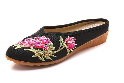 06a104d7 Sandalias Mujer/Sandalia con Pulsera para Mujer/En Primavera, Verano y  Bordado de Zapatillas de Punta Gruesa Baotou China Viento Zapatos de Tela:  Amazon.es: ...