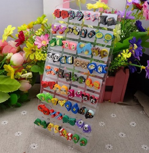 Color Animal Stud Earrings, Lot of 36 Pairs, Mix Color and Cute Animal Style