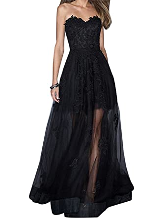 Duraplast Womens Tulle Prom Dress See-Through Ball Gowns Lace Appliques US2 Black