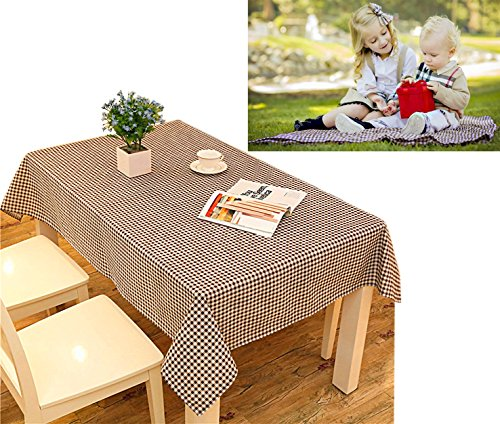 Cotton Checkered Pattern Tablecloth Outdoor Garden Coffee Picnic Burlap Table Cloth Cover Playing Blanket Mat for Parties, Banquet and Celebrations (55 x 79 inches, Coffee)