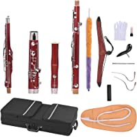 ammoon C Key Bassoon Maple Wood Body Cupronickel Silver Plated Keys Woodwind Instrument with Reed Gloves Cleaning Cloth Carrying Case